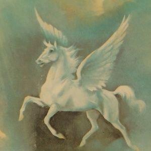 Vintage Wall Art - Set of Vintage Flying Horse Foil Decoupage Picture